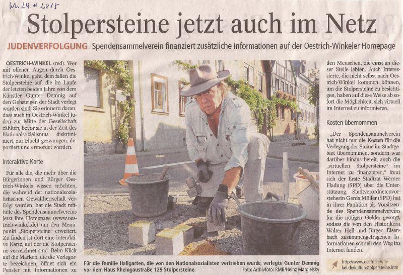 Stolpersteine - jetzt auch im Netz  - Wiesbadener Kurier- 24.11.2015