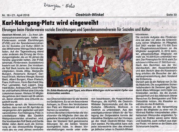 Bericht der Jahreshauptversammlung 2016 - RheingauEcho 21.04.2016