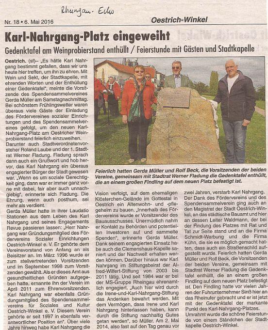 Eröffnung Karl-Nahrgang-Platz - RheingauEcho 6. Mai 2016