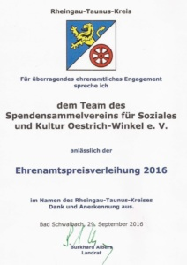 "Ehrenamtspreis des Rheingau-Taunus-Kreises in der Kategorie ""Soziales"""